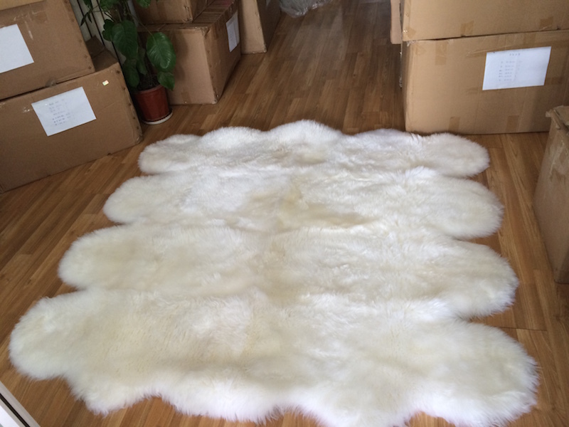 Nature White New Zealand Lambskin Rug Genuine Sheepskin Sofa Bed Rug  185*200cm 8Pelt Sheep