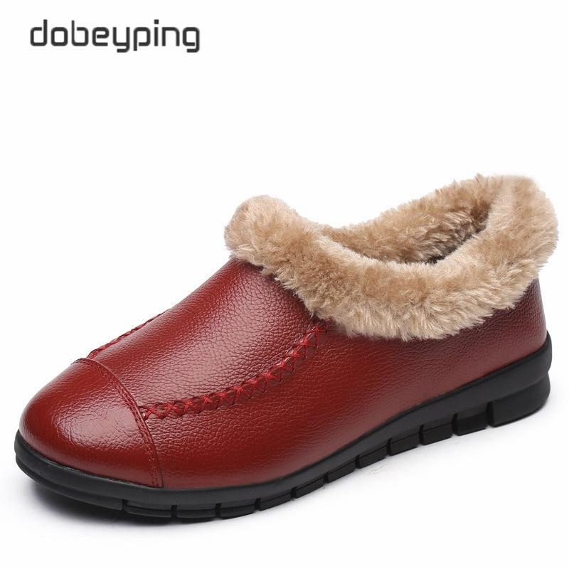 Winter Women Shoes Plush Ankle Snow Boots Woman Keep Warm Cotton Female Flats Shoe Genuine Leather Women's Fur Boots Size 35-43