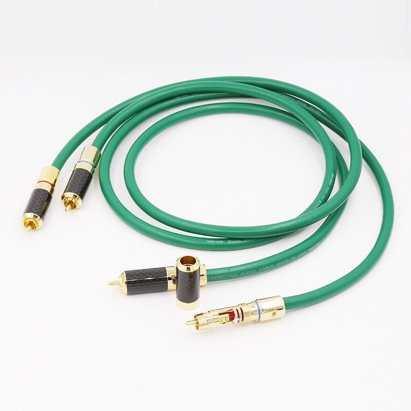 1 m haute Performance plaqué argent audio RCA salut Fi câble carbone or RCA connecteur Audio RCA câble