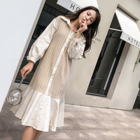 Korean Charming Patchwork Fish Tail Dress Fashion Summer Feminine Ruffle Dresses Medium And Long Section Wild Robe