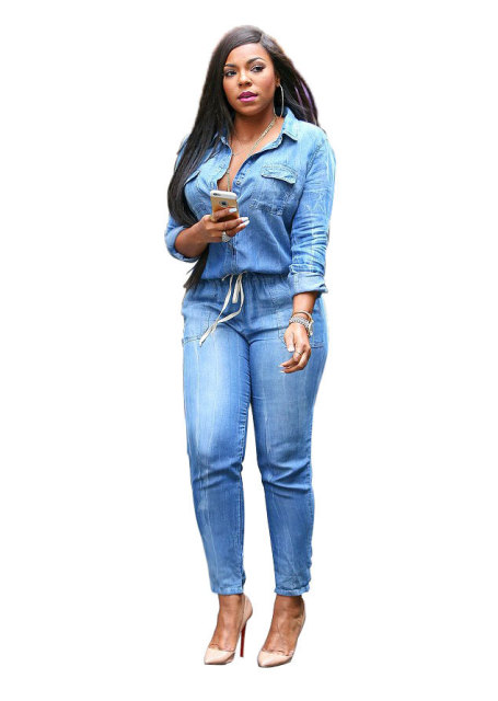 Adogirl Denim Jumpsuit Women Turn Down Collar Elastic Waist Full