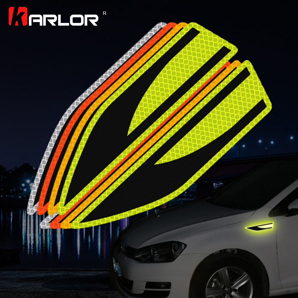 1 Pair Reflective Strips Security Car Stickers Warning Tape Safety Night Luminous Decoration For Car Waist Auto Car Accessories