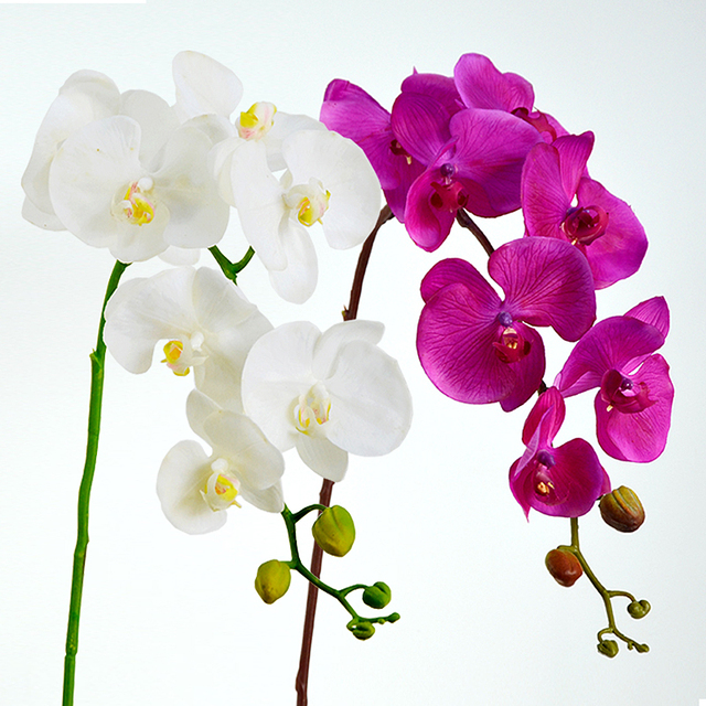 Purple Phalaenopsis Orchids 7 Heads Silk Real Touch Flower Decorative Wedding Orchid Floral Party