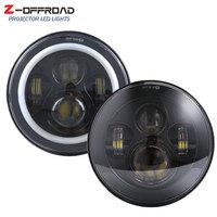 2xFor Lada 4x4 urban Niva UAZ suzuki samurai 7inch LED Headlight with Halo Ring Headlamp Replacement for Motorcycle