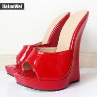 Jialuowei New Arrive Women Sandals Ultra 18CM High Heel Slippers Woman Platform Wedges Sexy Feith Shoes