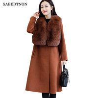 Winter Woolen Coat Women 2018 Brand Fashion Big Fur Collar Wool Coat Female Windbreaker Female Basic Coat Manteau Femme Hiver