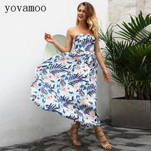 купить Yovamoo 2018 New Vintage Woman Slim Floral Print Sexy Long Dresses Summer Off The Shoulder Strapless Wrap Dress Women по цене 1602.23 рублей