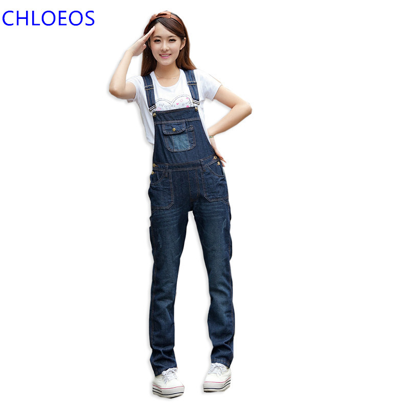 Women Loose Denim Blue Pocket Long Jumpsuit 2017 Spring Korean Style Girl Casual Pant Overalls Jeans