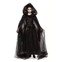 ハロウィン魔女コスプレ衣装中世女性黒吸血鬼の花嫁衣装大人恐怖ゾンビパーティードレス