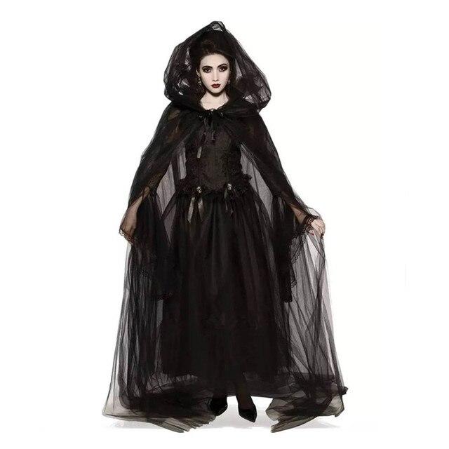 Disfraz Medieval de bruja para Halloween para mujer, disfraz de vampiro negro, novia, Fiesta Zombie de Terror para adulto