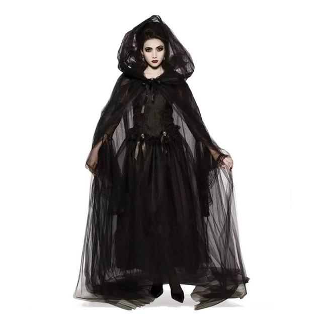 Halloween Witch Cosplay Costume Medieval Women Black Vampire Bride  Costume Adult Terror Zombie Party Dress
