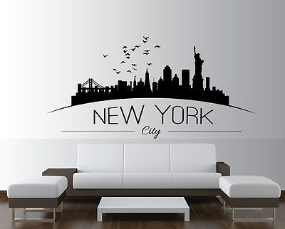 new york skyline wall sticker bedroom lounge wall art decal