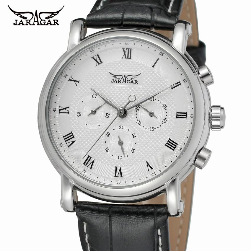 Fashion Luxury Men Automatic Mechanical Wrist Watches Top Brand JARAGAR White Men's Watches 3 Sub dials 6 Hands reloj hombre-in Mechanical Watches from Watches    1