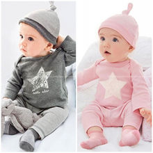 Newborn Toddler Baby Clothes 3pcs Long Sleeve Tops Pants Hat Kids Boy Girl Outfits Clothing Set 0~24M