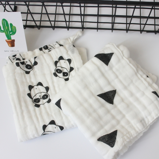 5-Pack of Ultra-soft and Absorbent Baby Wipe Towel Made of 6 Layers of Organic Muslin Cotton