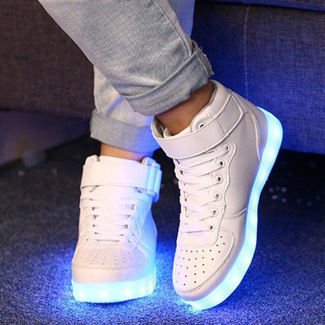 basecamp Light Flashing Luminous USB Charging LED Sneakers Trainers Unisex Lace Up