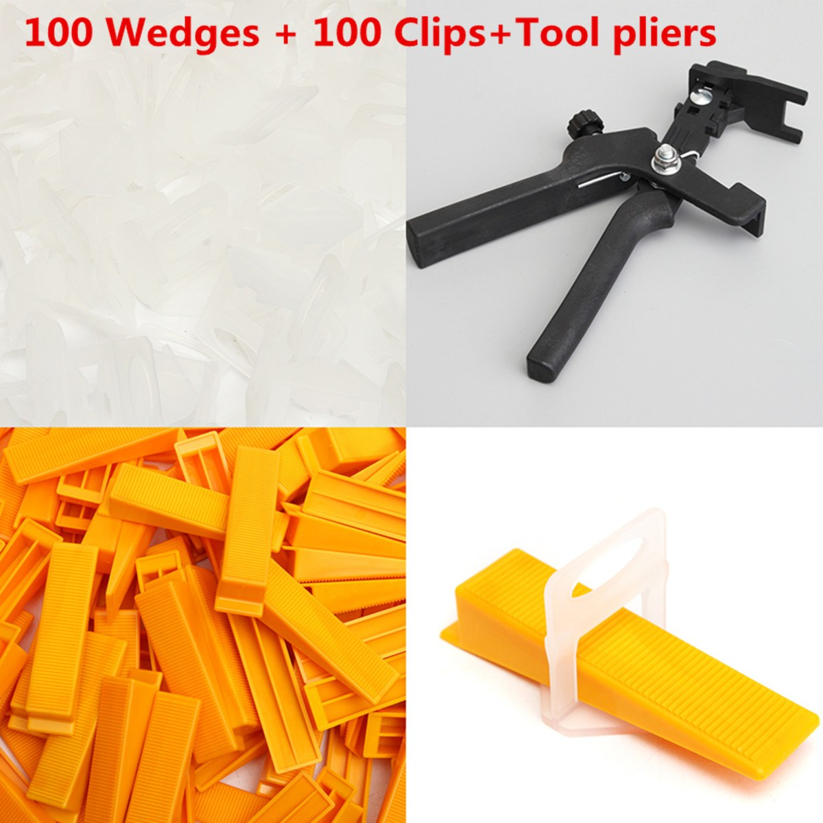 201 Tile Leveling Spacer System Kit Wedges Clips Pliers Tool Tiling Flooring 2mm Yellow White Black 201pcs 2mm tile leveling system kit 100 wedges 100 clips plier tiling spacer floor raimondi tiling locator installation tool