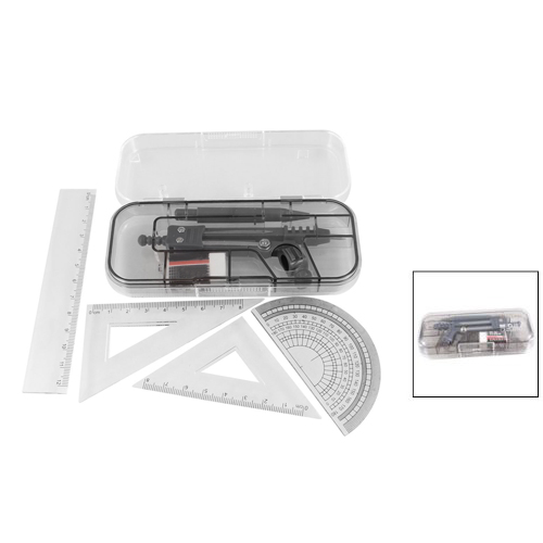 Students 7 in 1 Black Clear Plastic Ruler Compass Geometric Drafting Tool Set