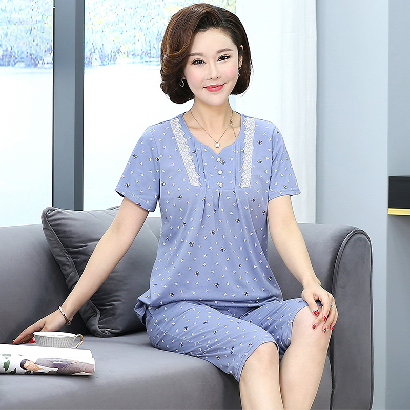 Women's Sleepwear Cotton Pajama Set Print Round Neck Pyjamas Short Sleeve Elegant Loose Soft Plus Size Womens Pajamas Summer
