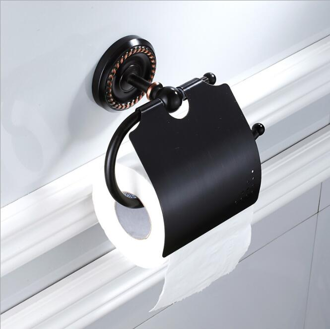 Wall Mounted Antique Black Oil Finish Bathroom Accessories Toilet Paper Holder bathroom toilet paper roll holder Tissue holder european black copper tissue roll holder vintage brushed toilet paper holder paper box wall mounted bathroom accessories j33