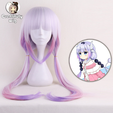 Miss Kobayashis Dragon Maid Kanna Kamui Synthetic Hair Heat Resistant Cosplay Wig With Double Buns