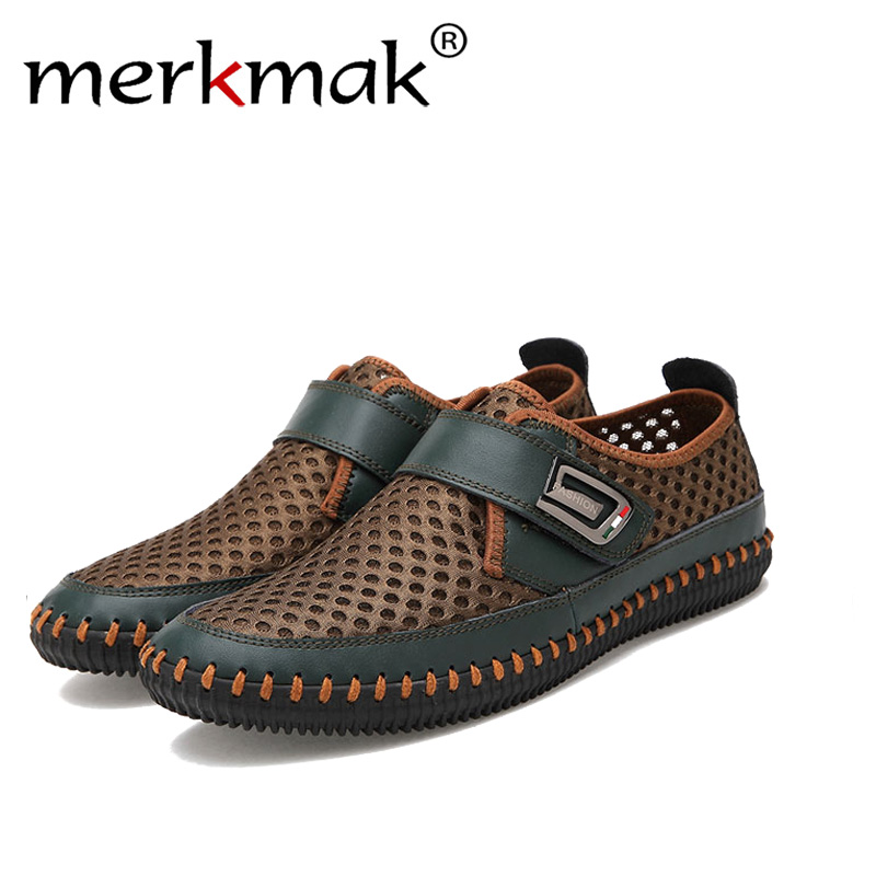 Merkmak Véritable D'été En Cuir Chaussures Hommes Appartements Mocassins Respirant Casual Chaussure Homme En Cuir Véritable Pilote Hommes Mocassins Chaussures