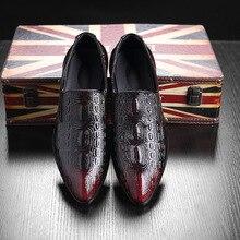새로운 남성 파티 드레스 신발 악어 패턴 통기성 패션 웨딩 캐주얼 남성 캐주얼 플랫 고품질 가죽 발가락