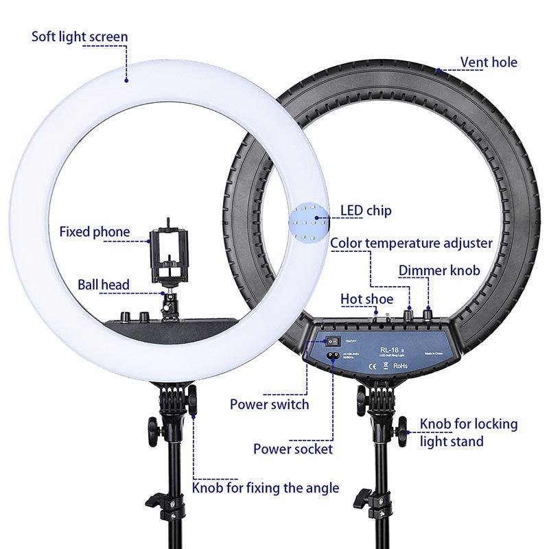 FOSOTO RL 18II éclairage photographique 3200 K 5600 K 512 Led anneau lampe Dimmable caméra Photo Studio téléphone maquillage anneau lumière trépied-in Éclairage photographique from Electronique    2