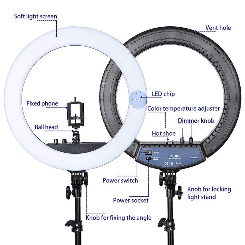 FOSOTO RL-18II iluminación fotográfica 3200 K-5600 K 512 Led anillo lámpara regulable Cámara foto estudio teléfono maquillaje anillo luz trípode - 2