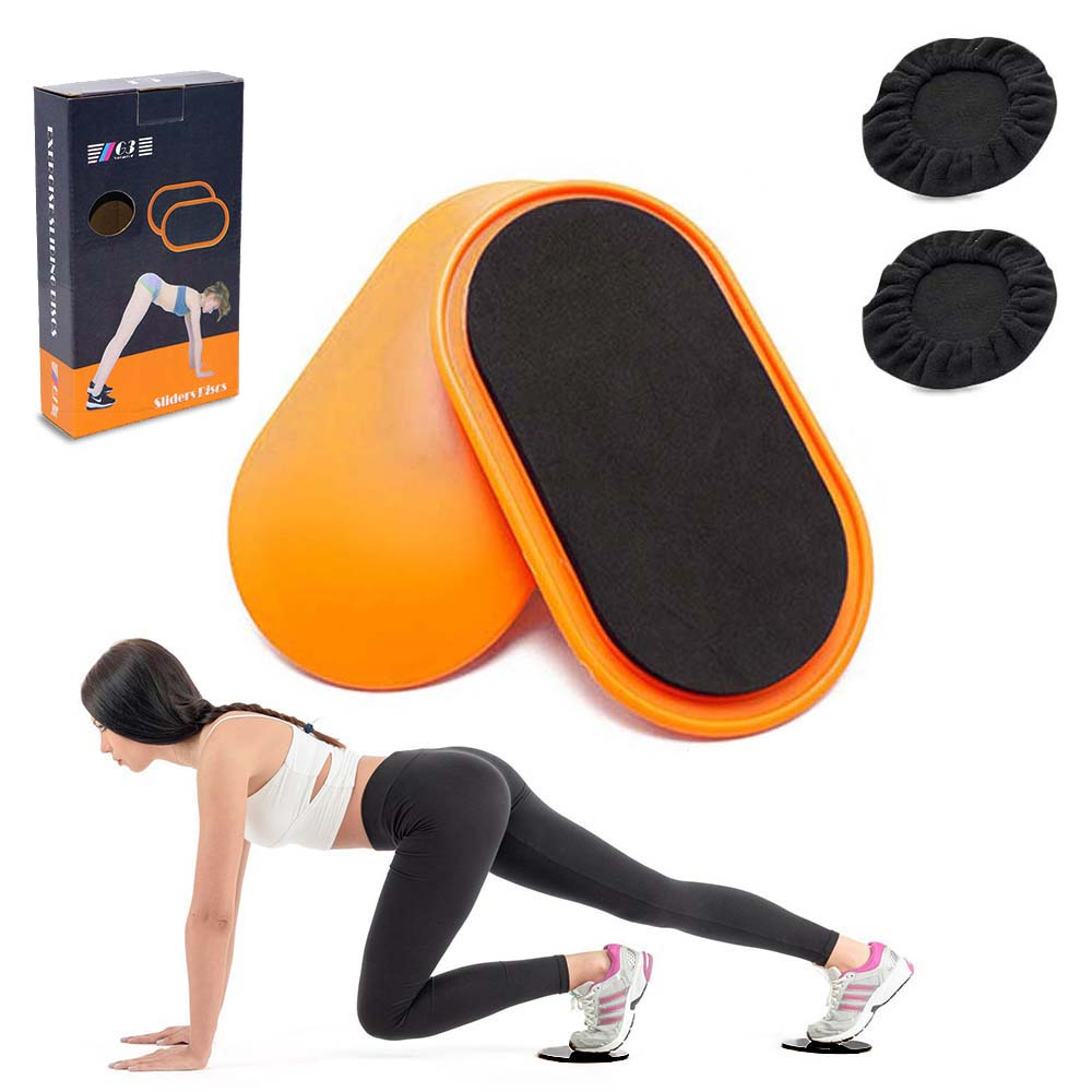 1 Pair Fitness Gliding Discs Core Slider With 2 Foot Covers Whole-body Workout Coordination Training Home Gym Exercise Equipment
