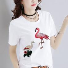 Flamingos Einhorn Eisen auf Patch Cartoon bestickt Patches Kleidung Aufkleber Scrapbooking für Jeans Tasche DIY Handmade