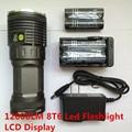 Новый 12000 люмен 8T6 из светодиодов тактический фонарь с жк-дисплеем 8 xCree XM-L T6 из светодиодов велосипед ламп + 4 х 18650 + 2 xCharger