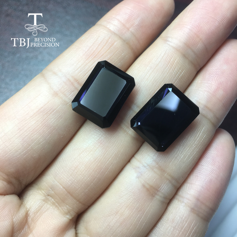 Natural oct12*16mm black spinel 35.2ct two pieces in one lot natural gemstone for diy silver jewelry