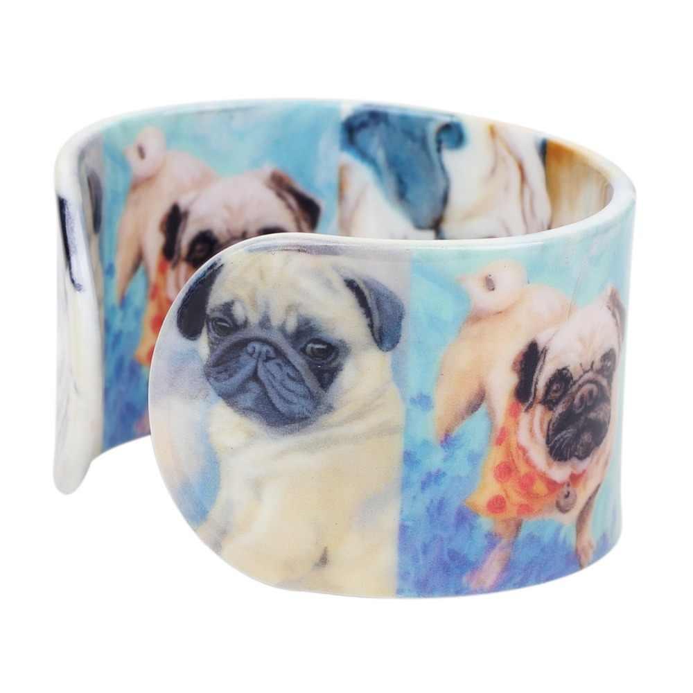 Bonsny Plástico Dos Desenhos Animados do Buldogue Pug Dog Pulseiras Pulseiras Indianas Artesanato Bijuterias Para As Mulheres Menina Animais Encantos Por Atacado