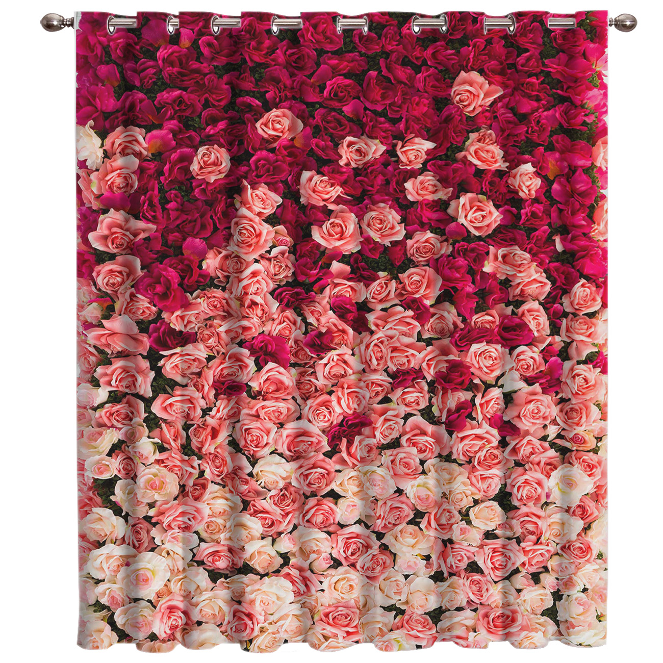 Pink Red White Rose Room Curtains Large Window Living Room Curtain Rod Bedroom Kitchen Indoor Decor Swag Curtain Panels