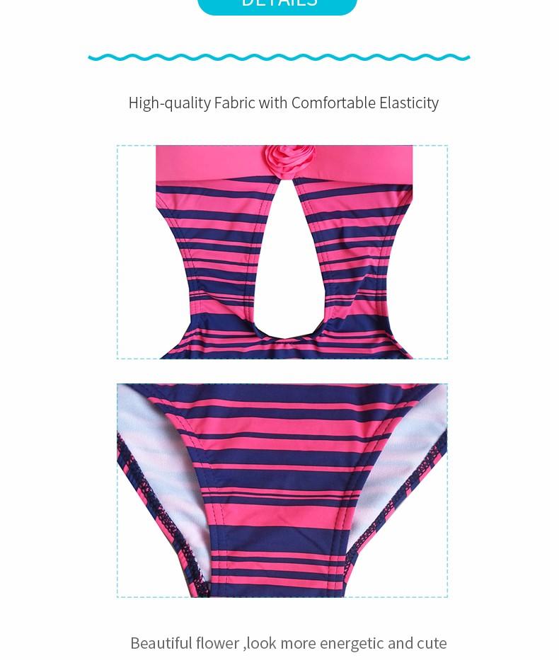 Foclassy new sexy swimsuit stripe push up plus size 3xl women swimwear one piece bathing suit with high waisted swimwear 7009 3