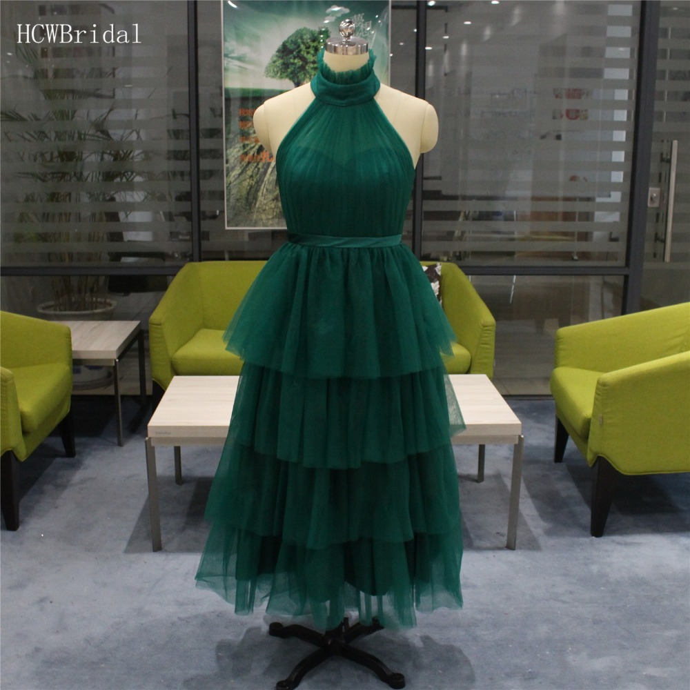 Hot Selling Dark Green Tiered Tulle   Prom     Dresses   Backless Halter A Line Formal Occasion   Dress   Cheap 2019 Short Evening Gowns