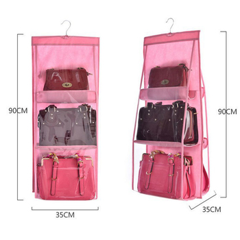 6 Pocket Hanging Bag Organizer Wardrobe Transparent Storage Bag for Handbag Closet Shoes Organizer Door Wall Sundries Pouch 1