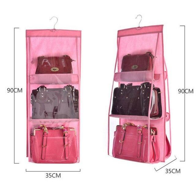6 Pocket Hanging Bag  Handbag Organizer Wardrobe Transparent Storage 1