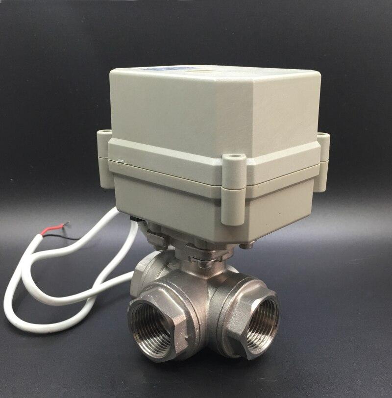 AC110 230V Power Off Return Valve 3 Way L/T Type BSP/NPT 1/2'' Stainless Steel Electric Shut Off Water Valve 10Nm - 4
