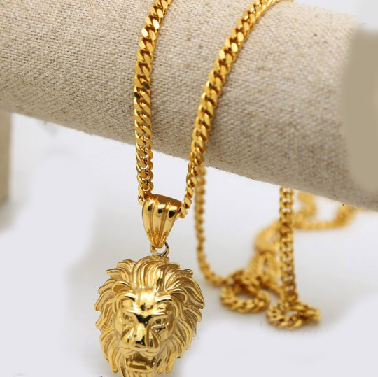 Alibaba aliexpress 100 100 gold color lion head pendants high quality fashion hiphop franco long necklaces gold chain mozeypictures Image collections