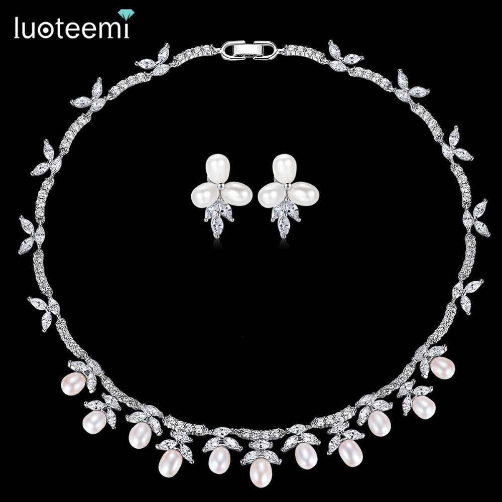 LUOTEEMI New Delicate Bridal Wedding Jewelry Sets Natural Pearl with Shining Zirconia Choker and Earrings Party