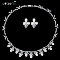 LUOTEEMI New Delicate Bridal Wedding Jewelry Sets Natural Pearl with Shining Zirconia Choker and Earrings Party Accessories Gift