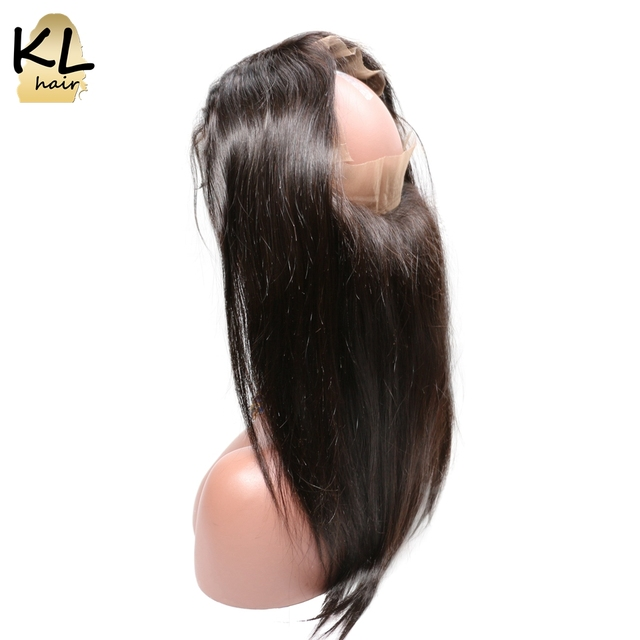 KL Hair Pre Plucked 360 Lace Frontal Natural Black Straight Hair Lace 360 Frontal Closure Brazilian Remy Hair With Baby Hair
