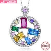 Jrose Fine Jewelry Multi Color AAA CZ 100 Solid 925 Sterling Silver Pendant For Women Beauty