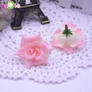 Image 3 - 10pcs Roses Artificial flowers Silk Head Wedding Decoration DIY Handmade jewelry brooch headdress party Scrapbooking Home Craft
