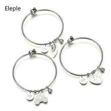 Eleple Korean Popular Anchor Wing Bracelet Titanium Steel Lady Open Heart Map Musical Note Life Charm Jewelry S-B65