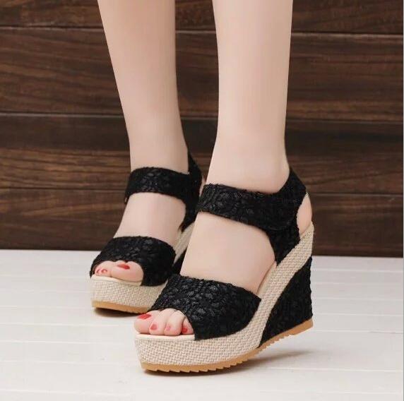 Mulheres sapatos 2016 verão nova abrir Toe cabeça de peixe moda sapatos de salto alto sandálias de cunha VJ083