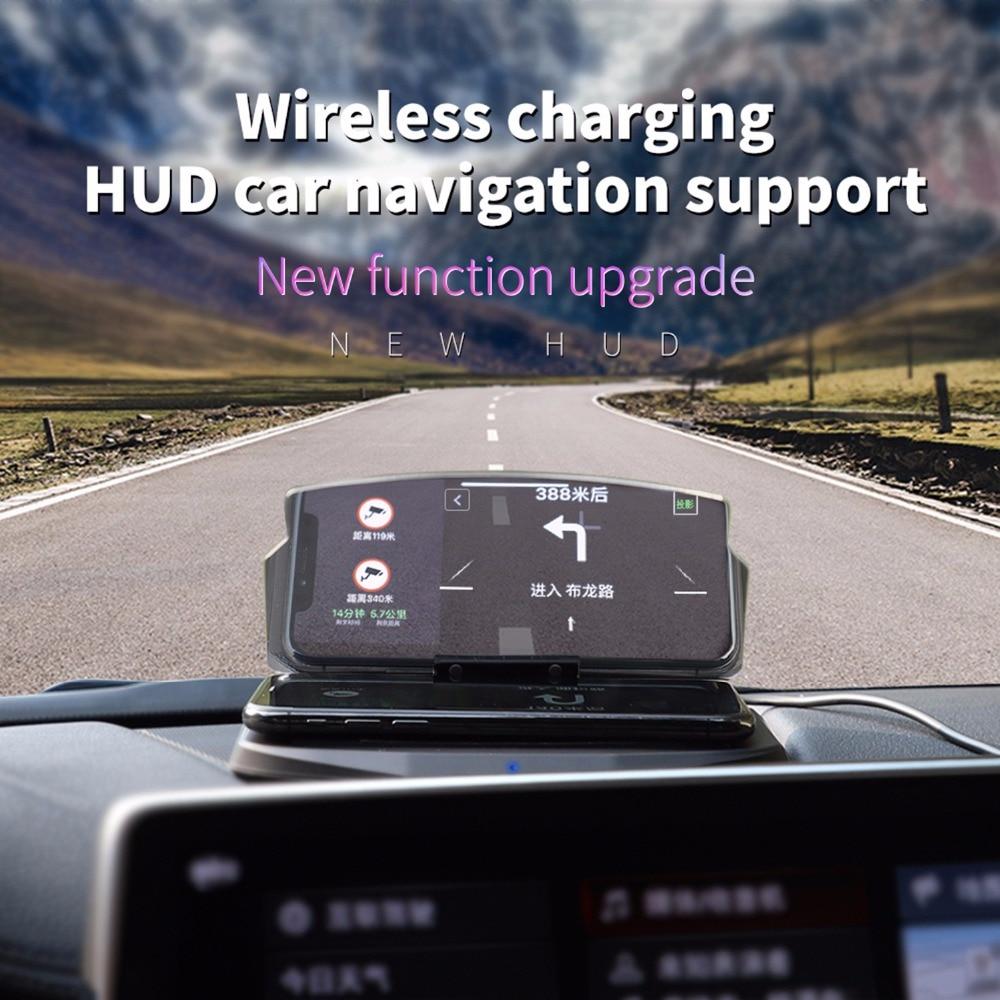 Support de téléphone portable intelligent universel affichage tête haute voiture HUD téléphone GPS Navigation chargeur sans fil support pour iPhone 8 Plus X