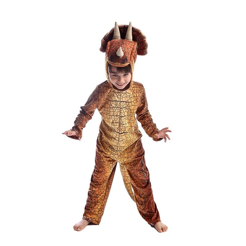Analytisch Nieuwe Collectie Bruin Kind Jongens Triceratops Cosplay Kleding Halloween Kids Dinosaur Themed Party Kostuum